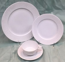 Hutschenreuther Gruppe White HUT358 Embossed Oval Rim 4 Pc China Place S... - $29.99