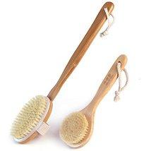 Durable Bamboo Detachable Bristles Body Brush Long Handle Bath Brush, 2 PCS