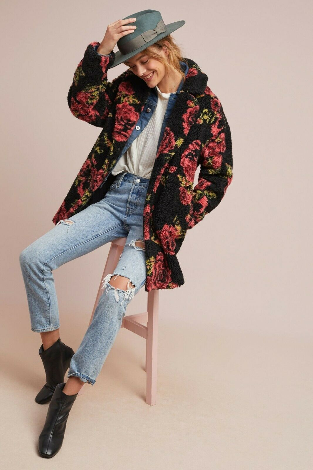 Anthropologie Winter Roses Coat by If By Sea Sz XL - NWT image 2