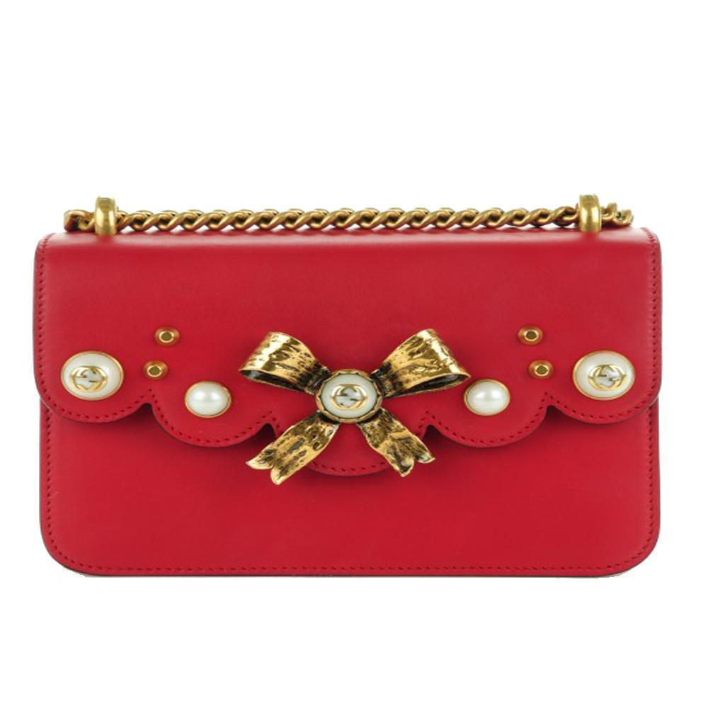 GUCCI Red Bow Pearl Leather Chain Shoulder Bag, GU1250