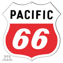 Pacific 66 Reproduction Laser Cut Out Of Metal 15x15 - $25.74