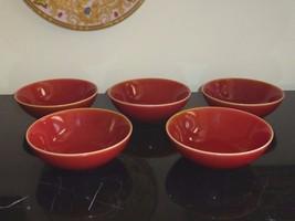 5 WOLFGANG PUCK BISTRO BURNT ORANGE RED BOWLS - $84.00