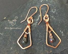 Handmade copper earrings: framed wire wrapped dangling art glass drop bead - $28.00