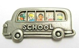 L Razza School Bus Brooch Pin Silver Tone Vintage Retro Signed Children Students - $9.99