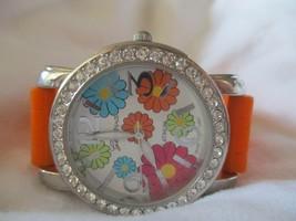 Geneva Orange & Silver Toned Floral Wristwatch w/ Adjustable Buckle Band - $29.00