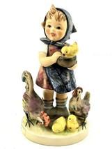 """Goebel """"Feeding Time"""" 4 3/4"""" Figurine 199/0 Girl Feeding Chickens W.Germ... - $37.99"""
