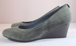 Rockport Adiprene Wedge Heel Pumps Womens Gray Suede Slip On Shoes Size 7 M - $42.95