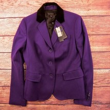 Talbots Purple with Black Size 4 Velour Collar Blazer - $89.36