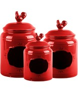 RED 3 PIECE CHALK ROOSTER CANISTER SET BY HOME ESSENTIALS - $82.12