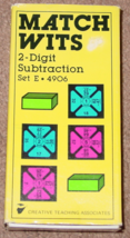 MATCH WITS 2 DIGIT SUBTRACTION GAME CARDS SET E #4906 1981 CREATIVE TEAC... - $5.00