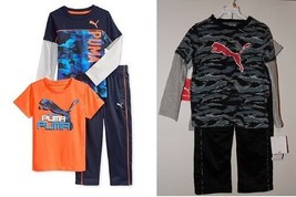 Puma Toddler Boys 3pc  Outfits 2 Shirts & Pants Size- 3T or 4T  NWT - $24.49
