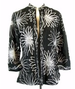 CHICO'S Size 1 (8-10)  Embroidered Black Silk Open Jacket - $21.99