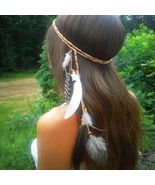 Boho Indian Feather Headband Headdress Tribal Hair Rope Headpieces Hippi... - $2.99