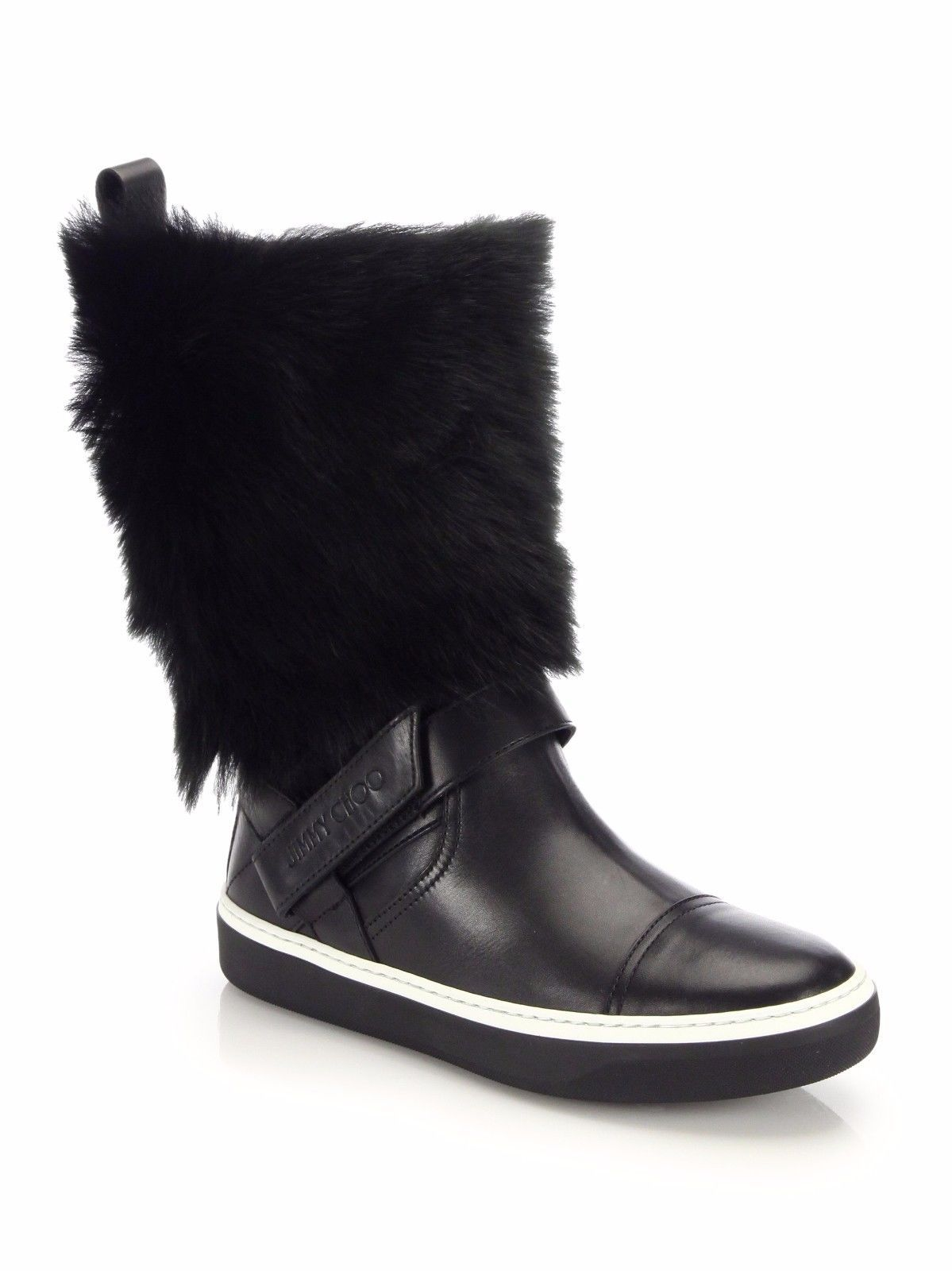 eaf5f6143e98 Jimmy Choo Bury Flat Black Leather with Fur Winter Boots Shoes 37