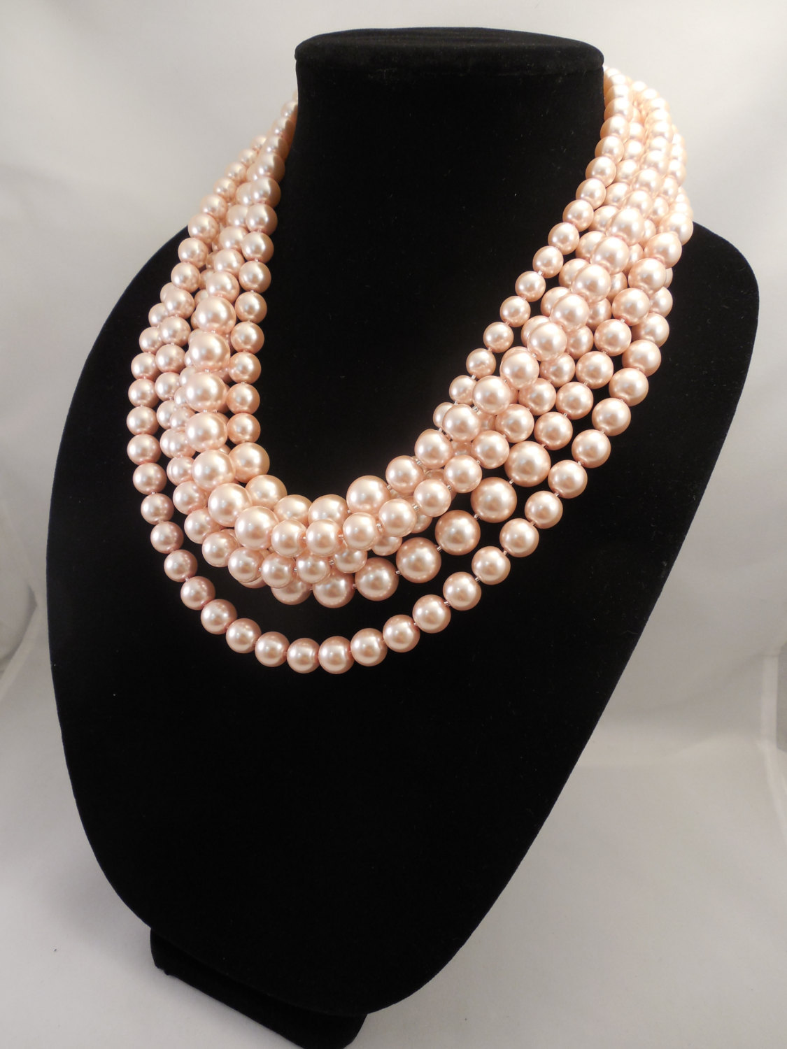 Very Elegant, Chunky Multi Strand Necklace with Blush Peach Pink Glass Pearls