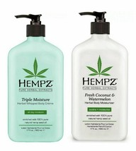 Hempz 2 Pack Triple Moisturizer + Fresh Coconut Watermelon GIFT SET 17 OZ EACH - $28.01