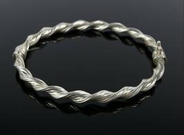 Vintage .925 Sterling Silver Twist Spiral Latch Clasp Hinge Bangle Brace... - $27.53