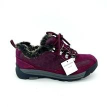 Lands End Womens 420475 Powder Belle Suede Shoe Faux Fur Lace Up Purple 6.5B - $44.54
