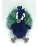 "Aurora Peacock Blue Green Plush Stuffed Animal 9"" Lovey Toy White Gray - $5.99"