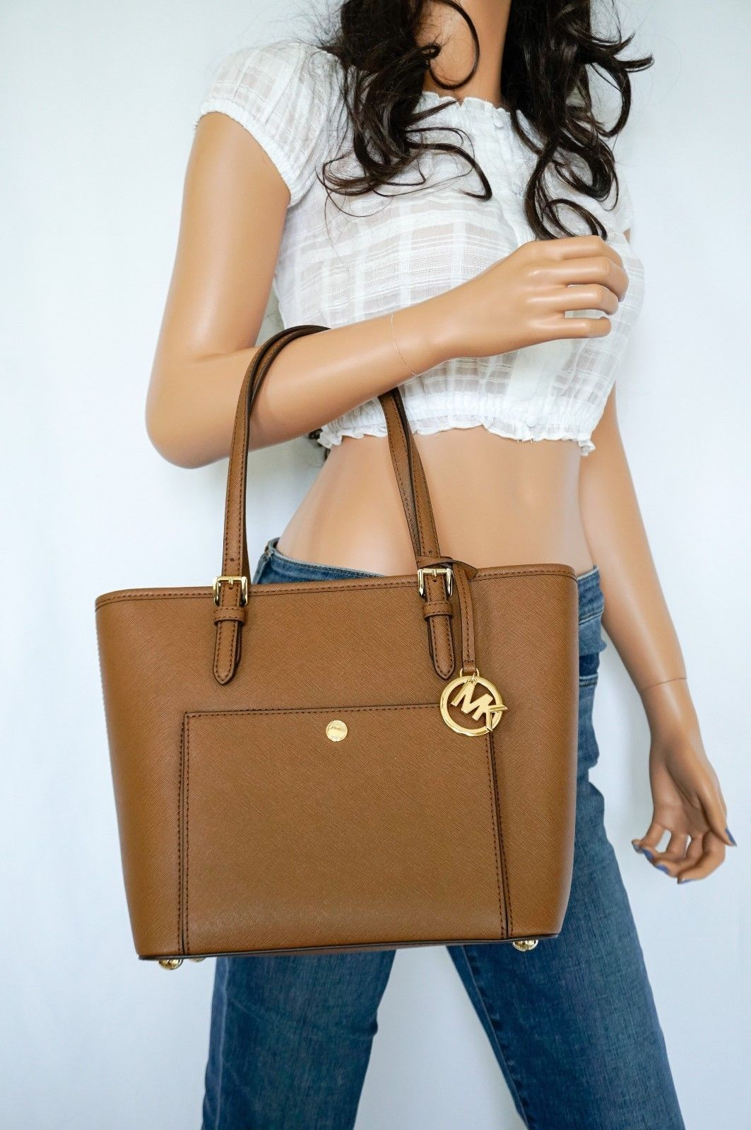 b96efc61a1be S l1600. S l1600. Previous. MICHAEL KORS JET SET ITEM MEDIUM TOP ZIP SNAP  POCKET TOTE SAFFIANO LEATHER BROWN