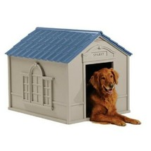 Large Dog House Outdoor Pet Shelter Removable Roof Vinyl Door Easy Setup... - $100.89