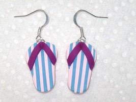 Flip Flop Pink Blue Stripe Purple Sandals Polymer Clay Dangle Drop Earri... - $3.00