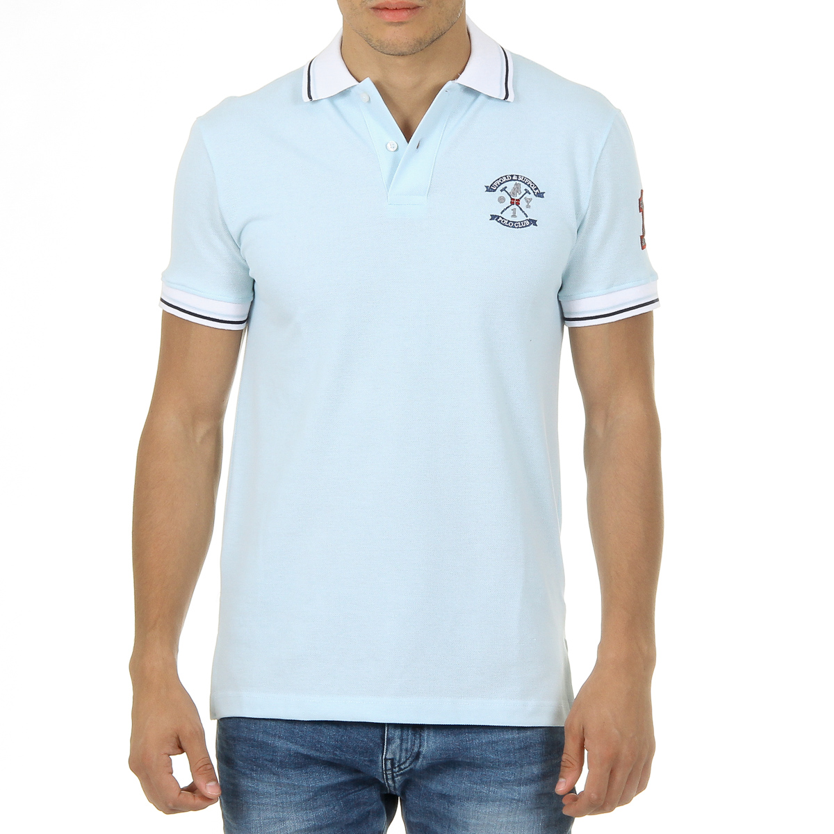 Primary image for Ufford & Suffolk Polo Club Mens Polo Short Sleeves Light Blue KID