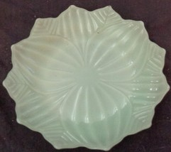 """Vintage Pressed Glass 8.25"""" Salad Plate - GREEN OPAQUE GLASS - VGC - LEAVES - $19.79"""