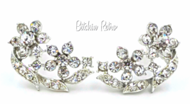 Lisner Vintage Rhinestone Floral Earrings with Bridal Style  - $20.00