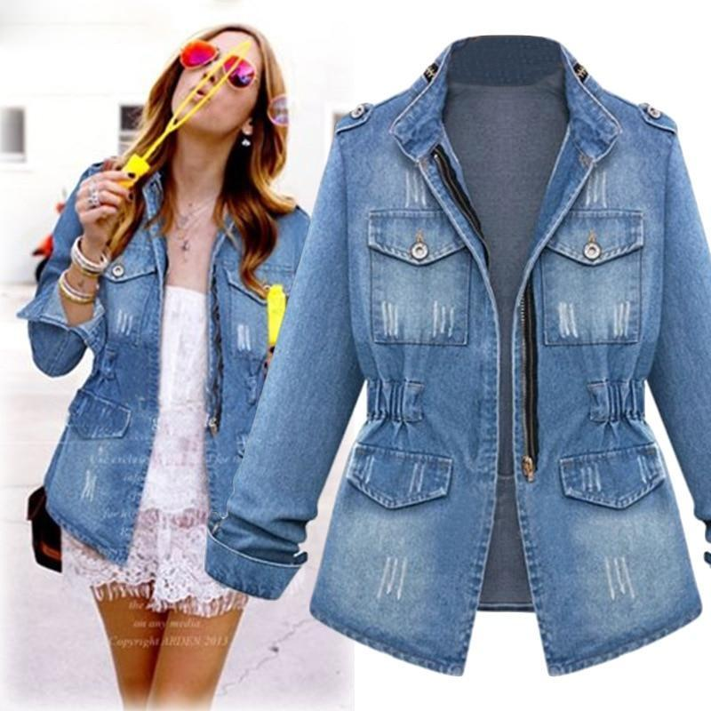 Denim plus size vintage streetwear zipper womens jacket harajuku european style all match ladies