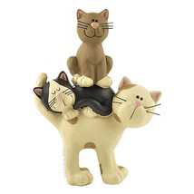 Whimsical Kitty Cats in a Stack Figurine - Blossom Bucket - $8.95