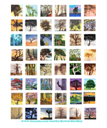 trees landscapes paintings collage sheet clip art digital download 1 inc... - $3.99