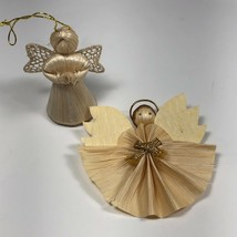 Vintage Small Corn Husk Angel Christmas Ornaments Lot of 2 Tree Decorations - $10.69