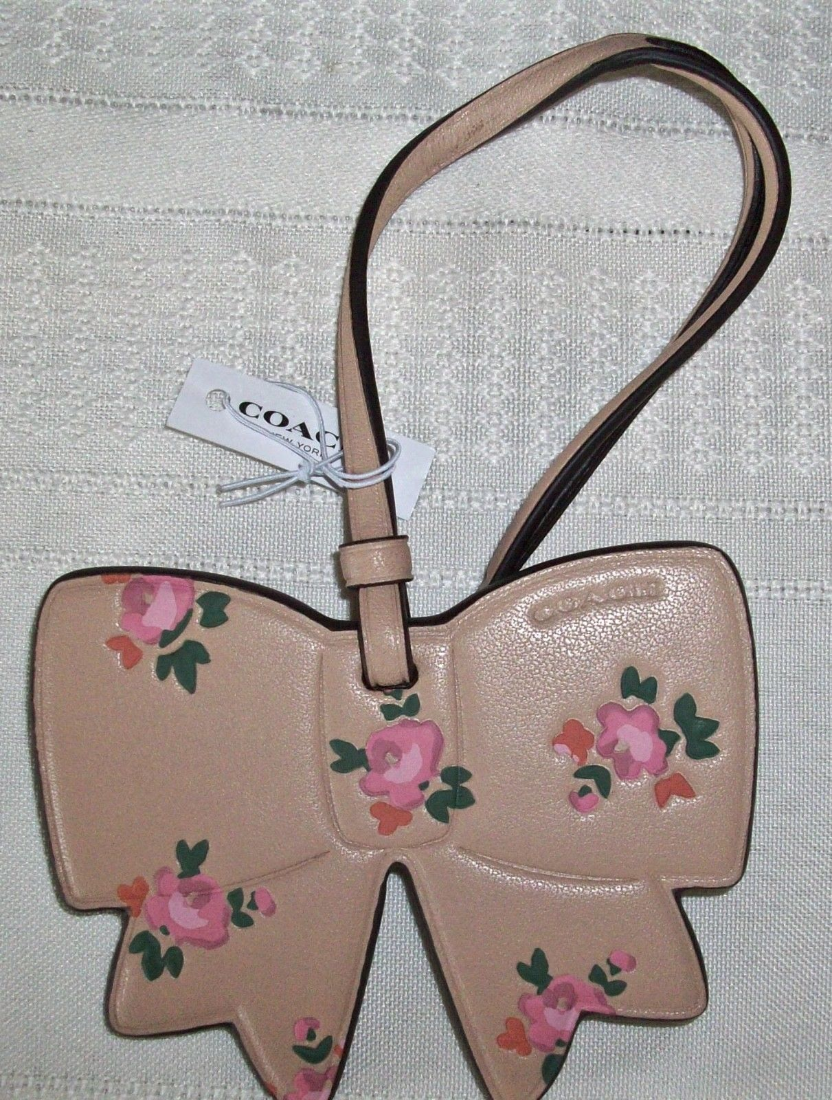 Coach Boxed Leather Printed Floral Bow Charm Ornament 27417 Beechwood image 2