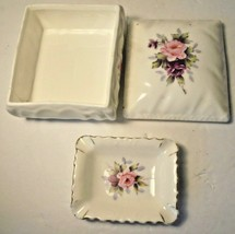 "Napco Hand Painted Fine Bone China Trinket Box and Tray Pink Roses 4""W x... - $11.85"