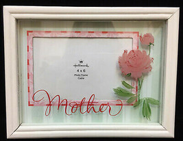 Mother Picture Frame Hallmark 4 x 6 Rose Flower Pink Green Cream Photograph - $8.90