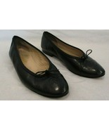 CHANEL Black Leather Ballet Flats with Black Leather Captoe - Size 38.5 - $299.99