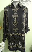 ELLEN TRACY Dress Shirt Black Tan sz P 100% Silk Button Up Dressy blouse... - $27.71