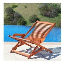Chaise Lounge Chair Outdoor Wood Folding Lounger Pool Side Seat Patio Fu... - $98.00