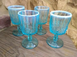 4 Vintage LG WRIGHT BLUE OPALESCENT GLASS WATER GOBLETS Paneled Grape Pa... - $74.99