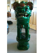 """CHINESE ANTIQUE COLORFUL HAND CARVED FOO DOG 10"""" Tall - $1,485.00"""