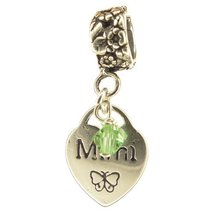 Mimi Heart Peridot Crystal August Birthstone Small Sterling Silver Dangle Mimi C - $25.64