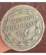 Error Coin PAPAL STATES coin MEZZO BAIOCCO 18?9 - $46.75