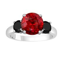 Garnet And Enhanced Black Diamonds Three-Stone Engagement Ring 14k White... - $1,700.00