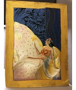 Beautiful Unique Art Piece Part Painted Mostly Silk Embroidered Deco Woman - $757.34