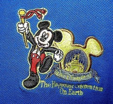 Disney World Mickey Mouse Blue Polo Shirt Happiest Celebration Embroidered XXL - $24.75