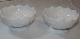 Milk Glass set of 2 Candle stick Holders Berry vine Pattern Vintage RARE ~ - $23.75