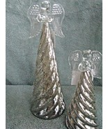 2 Mercury Glass  Angels Ornament Tree Top Praying Hands Glass Star - $23.71