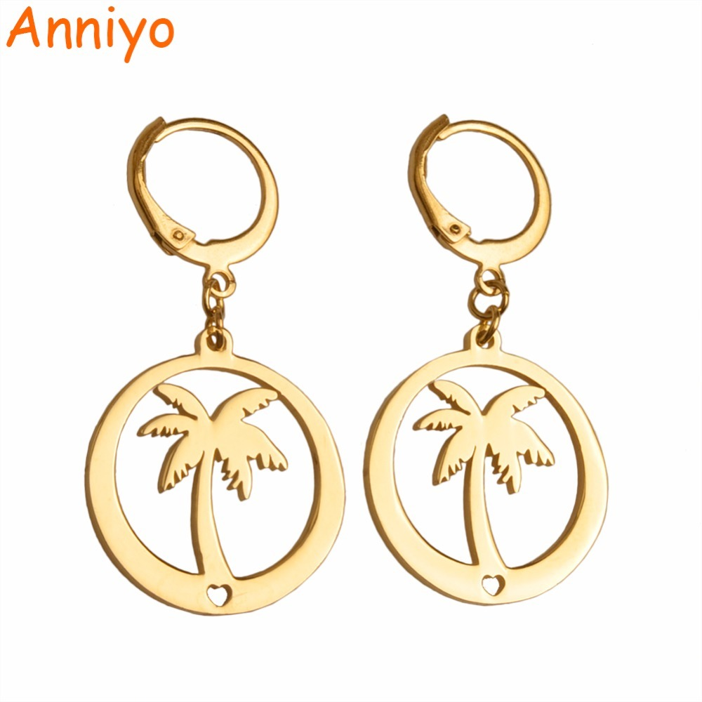 Primary image for Coconut Tree Earrings for Women Girls.Gold Color Kiribati Jewelry