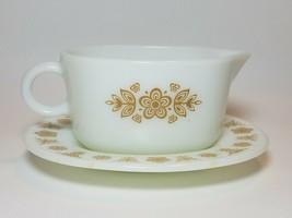 Vintage Pyrex Butterfly Gold Gravy Sauce Boat 77-B Underplate 77-U Milk ... - $19.75